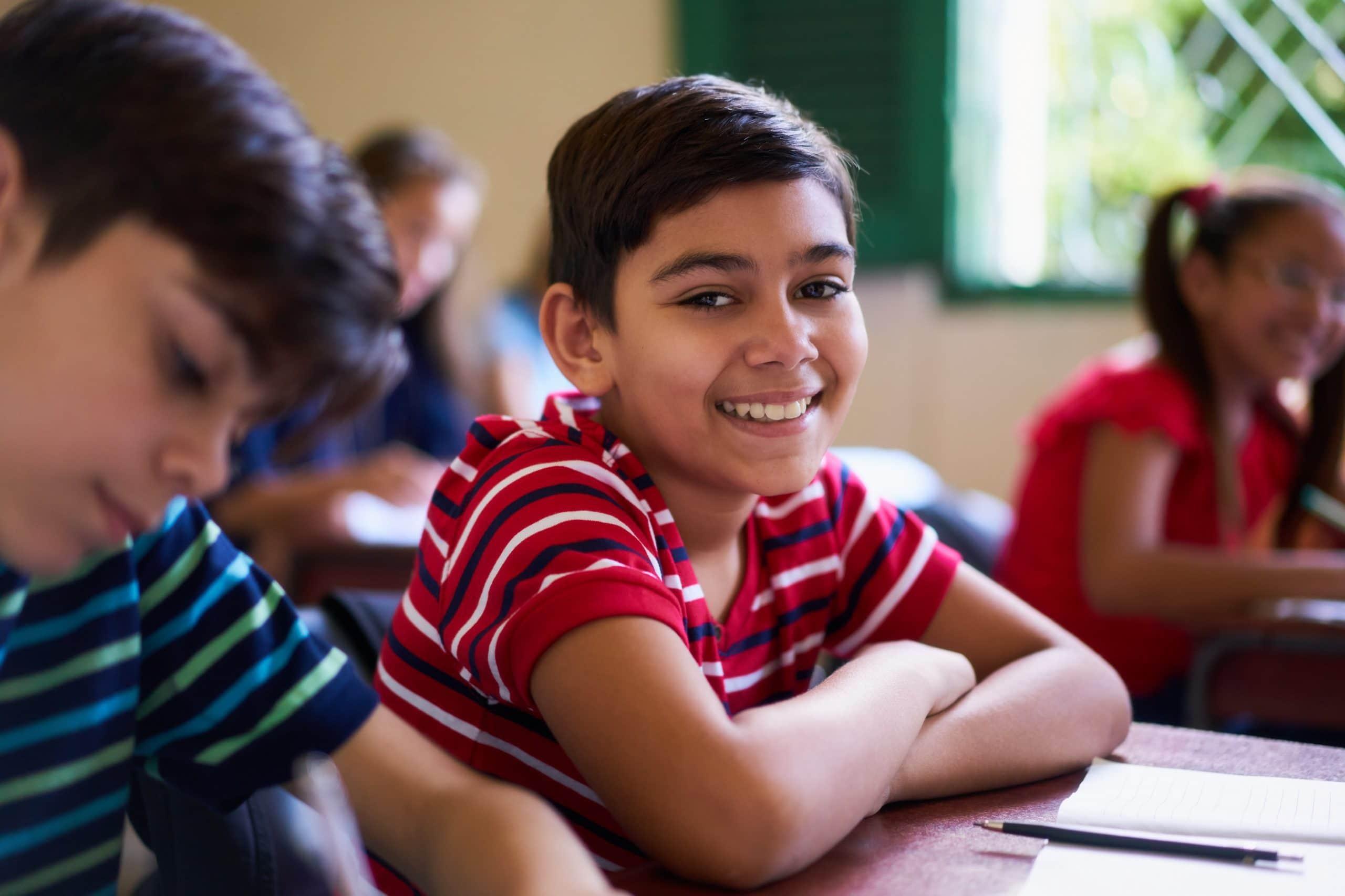 Kid at school smiling